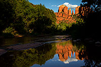 /images/133/2011-08-22-sedona-cathedral-90655.jpg - #09486: Reflection of Cathedral Rock in Sedona … August 2011 -- Cathedral Rock, Sedona, Arizona
