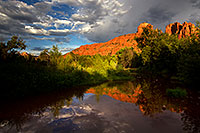 /images/133/2011-08-22-sedona-cathedral-pond-90781.jpg - #09489: Reflection of Cathedral Rock in Sedona … August 2011 -- Cathedral Rock, Sedona, Arizona