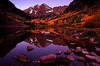 /images/133/2011-10-01-maroon-reflection-102842.jpg - #09589: Sunrise reflection of Maroon Bells in Colorado … September 2011 -- Maroon Bells, Colorado