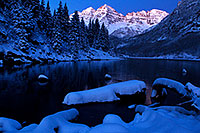 /images/133/2011-10-27-maroon-sunrise-snowy-109319.jpg - #09732: Snowy sunrise in Maroon Bells, Colorado … October 2011 -- Maroon Bells, Colorado