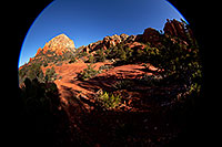 /images/133/2012-04-20-sedona-thunder-5d2_1198.jpg - #10221: Fisheye view of Thunder Mountain in Sedona … April 2012 -- Thunder Mountain, Sedona, Arizona