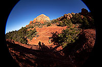 /images/133/2012-04-20-sedona-thunder-5d2_1201.jpg - #10222: Fisheye view of Thunder Mountain and silhouette in Sedona … April 2012 -- Thunder Mountain, Sedona, Arizona