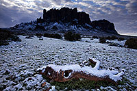 /images/133/2013-02-21-supers-log-snow-26560.jpg - #10804: Snow in Superstitions … February 2013 -- Lost Dutchman State Park, Superstitions, Arizona