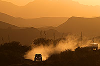 /images/133/2013-05-24-supers-above-dirt-1dx_1680.jpg - 11200: Jeep on a dirt road at sunset in Superstitions … May 2013 -- Fish Creek Hill, Superstitions, Arizona