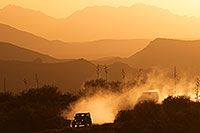 /images/133/2013-05-24-supers-above-dirt-1dx_1683.jpg - #11137: Jeep on a dirt road at sunset in Superstitions … May 2013 -- Fish Creek Hill, Superstitions, Arizona