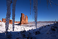 /images/133/2013-12-11-arches-courthice-1dx_2413.jpg - #11390: Icicles and Courthouse Towers in Arches National Park … December 2013 -- Courthouse Towers, Arches Park, Utah