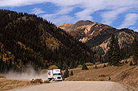 /images/133/2015-09-21-silverton-fedex-6d_9135.jpg - #12625: FedEx truck approaching Silverton on a dirt road … September 2015 -- Silverton, Colorado