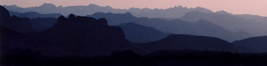 /images/500/2003-06-supersti-sunset-sp.jpg - #01246: Superstition Mountains with Apache Trail Road in foreground… June 2003 -- Apache Trail Road #2, Superstitions, Arizona