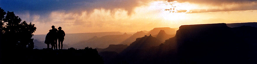 /images/500/2004-07-grand-3-sunset-sp.jpg - #01668: Silhouettes of Aneta, Ewka & Ola (left to right) during sunset in Grand Canyon … July 2004 -- Navajo Point, Grand Canyon, Arizona