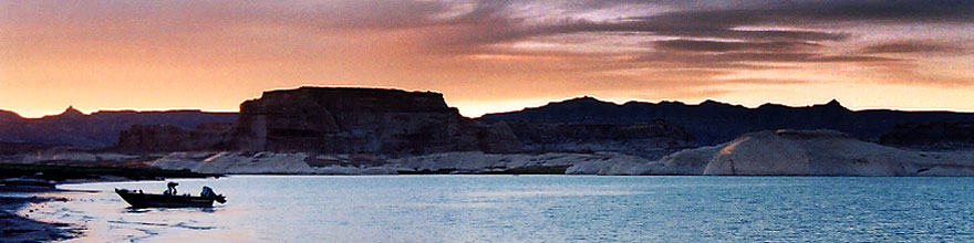 /images/500/2004-07-powell2-sunset2-sp.jpg - #01765: sunset at Lone Rock … July 2004 -- Lone Rock, Lake Powell, Utah