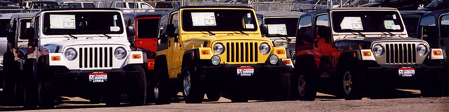 /images/500/2006-03-lithia-wranglers-sp.jpg - #02883: white, yellow and grey 2006 Jeep Wranglers in Centennial … March 2006 -- Lithia Jeep, Centennial, Colorado