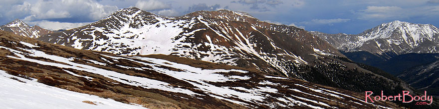 /images/500/2007-06-03-indep-road02-sp.jpg - #03887: view from above Independence Pass with La Plata Peak at 14,336 ft on far right … June 2007 -- La Plata Peak, Independence Pass, Colorado