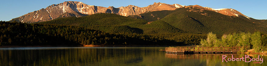 /images/500/2007-06-22-pikes-lake01-sp.jpg - #04034: Morning reflection of Pikes Peak in Crystal Reservoir … June 2007 -- Crystal Reservoir, Pikes Peak, Colorado