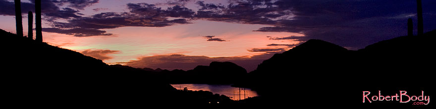 /images/500/2008-08-30-supers-sunset-22821sp.jpg - #05826: Car headlights by Canyon Lake in Superstitions … August 2008 -- Canyon Lake, Superstitions, Arizona