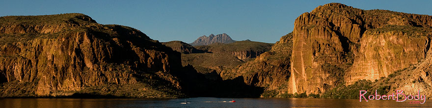 /images/500/2008-09-01-supers-canyon-lk-23059sp.jpg - #05828: Canyon Lake in Superstitions, with Four Peaks mountain in the center … September 2008 -- Canyon Lake, Superstitions, Arizona