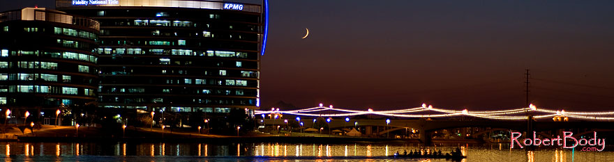 /images/500/2008-10-01-tempe-lake-31493sp.jpg - #05973: 8 person sculling boat at Tempe Town Lake under a crescent moon … October 2008 -- Tempe Town Lake, Tempe, Arizona